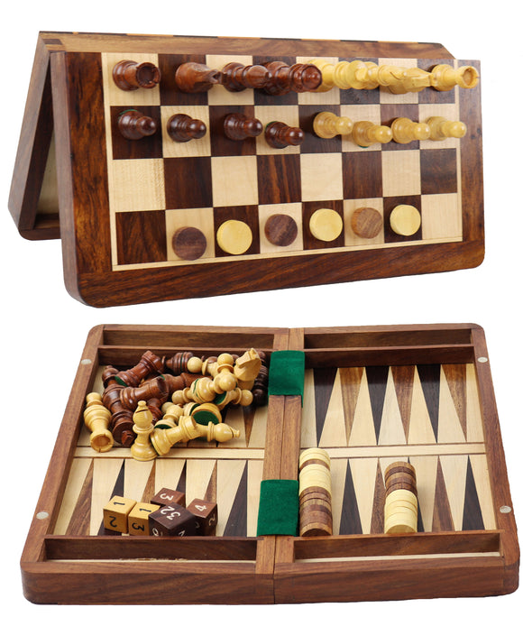 wooden 3-in-1 travel: backgammon, checkers & chess set