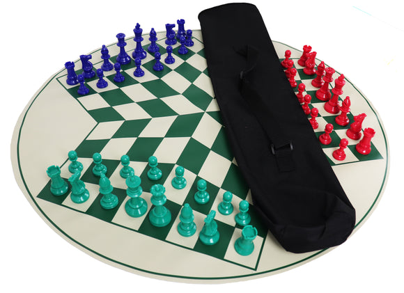 three-player chess set (green board)
