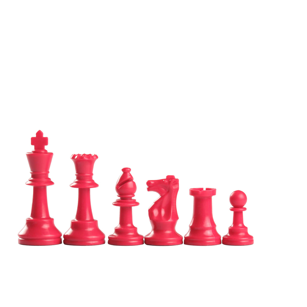 95mm red coloured plastic chess pieces
