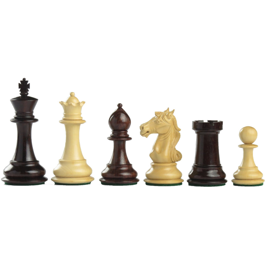 "4"" aviator wooden chess set in red budrose"
