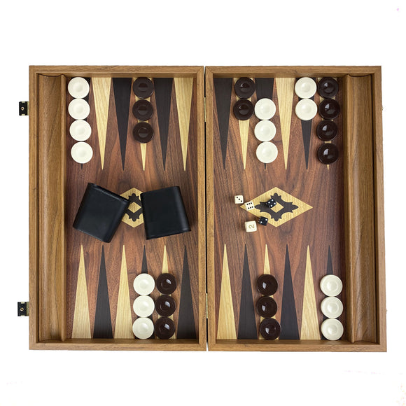 walnut replica backgammon  / side racks (48cm)