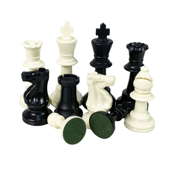 95mm standard black and ivory chess pieces