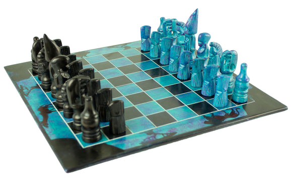 blue soapstone chess set (large)