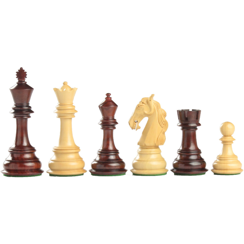 "4.25"" colombian wooden chess set in red budrose"