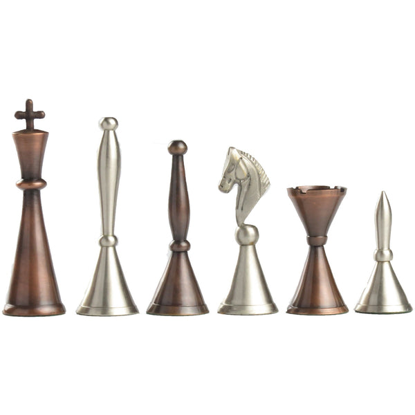copper and pewter chess set