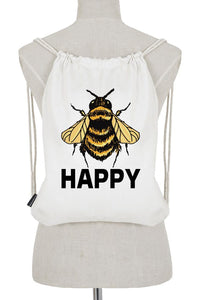 drawstring bag - bee happy