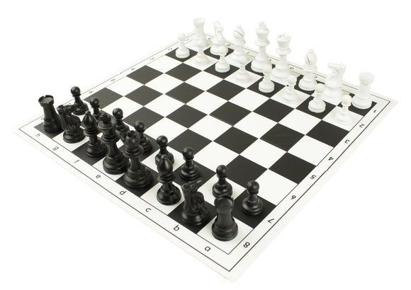 hardback folded black chess set for schools