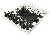 hardback folded black chess sets with bags for schools
