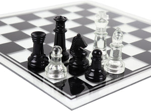 glass chess set - black & clear (large)