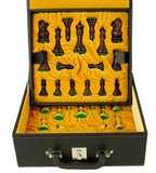 stitched leatherette chess box with velvet lined tray - large