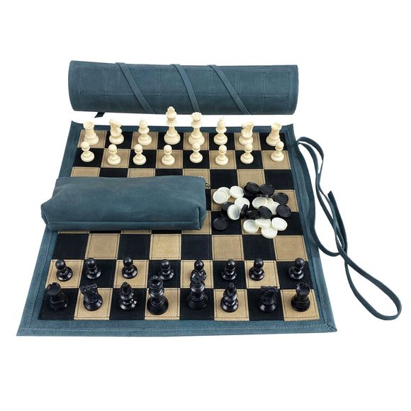 leather roll-up chess & checkers