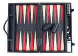 black leather backgammon  in case / side racks (48cm)