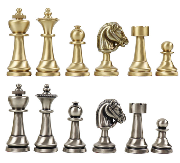 staunton, solid brass chess set
