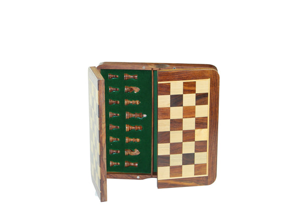 discounted top-open wooden magnetic travel chess set: 25cm