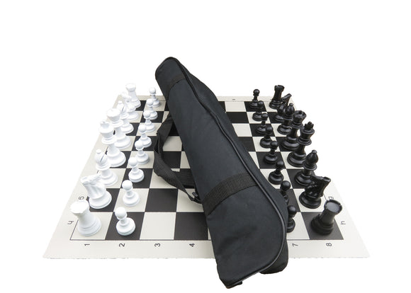 basic vinyl chess set with long club bag (medium)