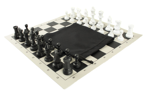 basic vinyl chess set with drawstring bag for schools