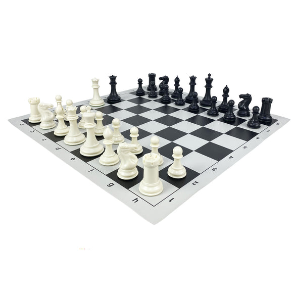 vinyl chess set - large (black)
