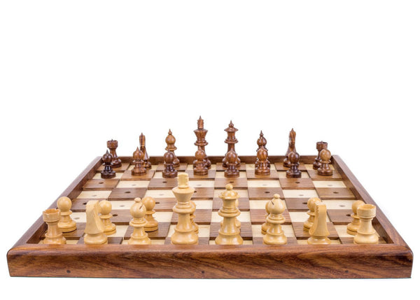 wooden chess set for visually impaired players