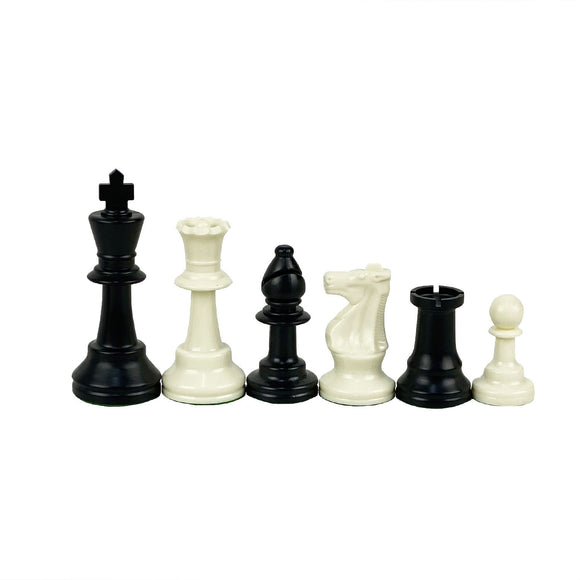 95mm weighted black and ivory chess pieces