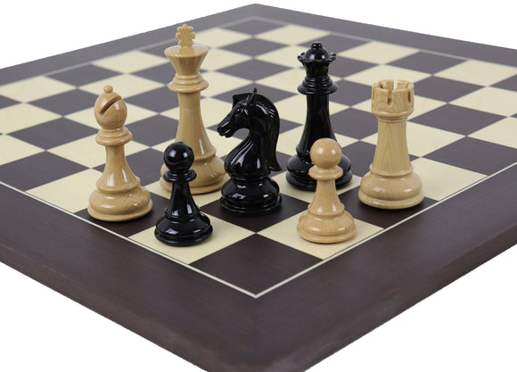 black and wood finish chess set combo (wenge board)