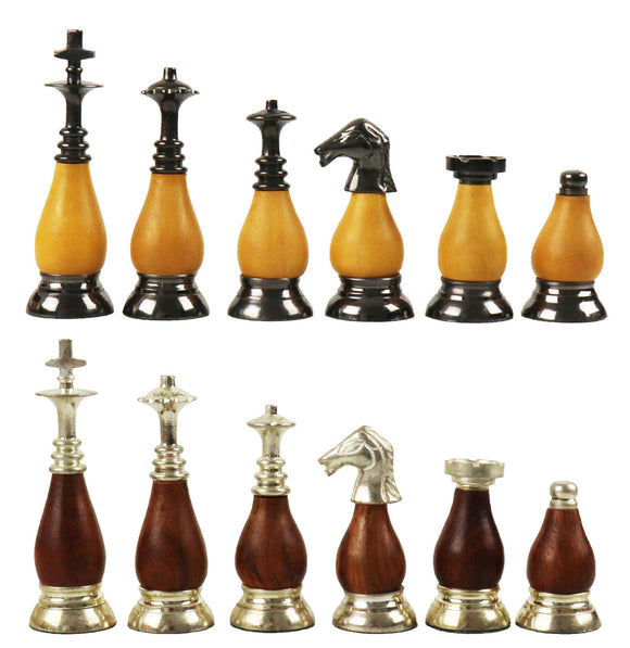 duo wood and brass chess pieces