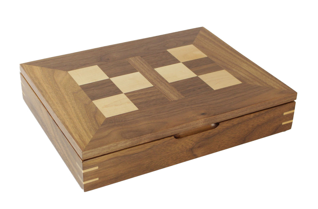 wooden chess box - walnut and maple