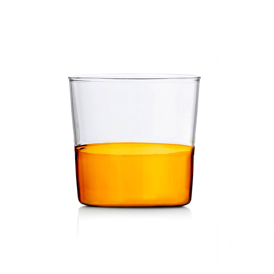 Water Glass - Amber bottom/ Clear