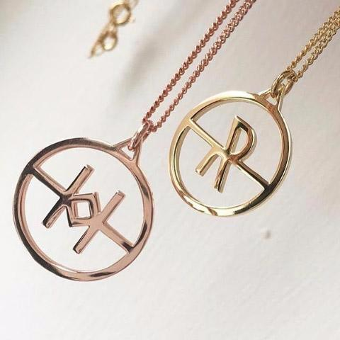 Crux Mini Initial Necklace Yellow Gold