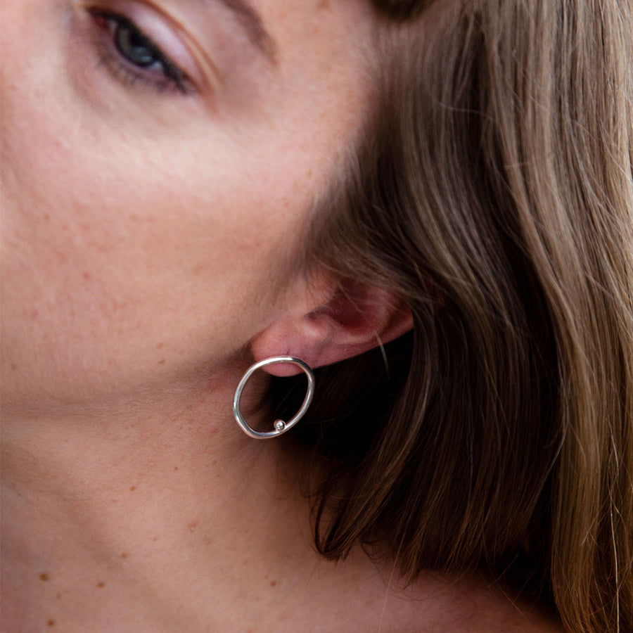 Karina Banks London - Double A Earrings - Silver. Shop now