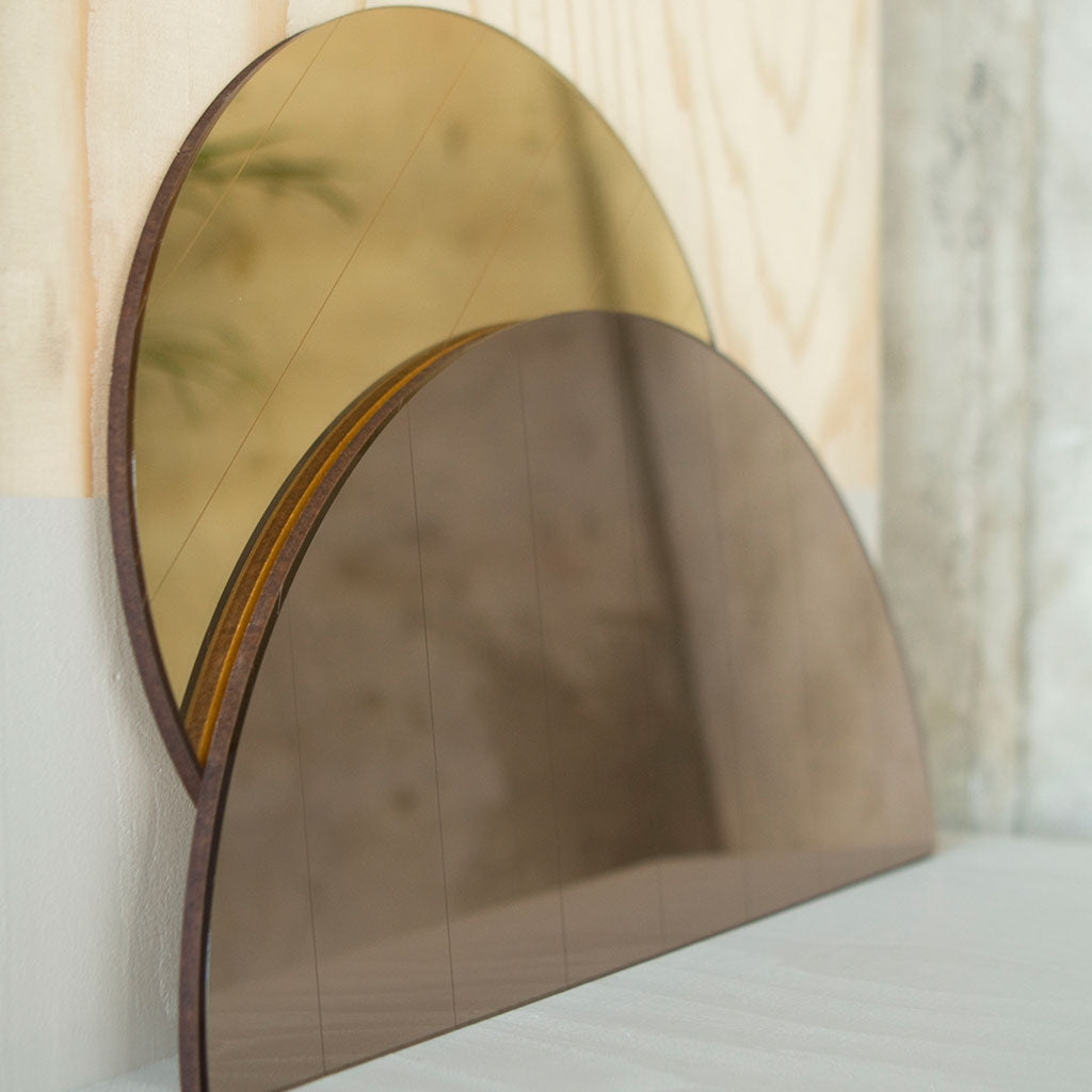 Gold Circle and semi bonze mirrors - shop now