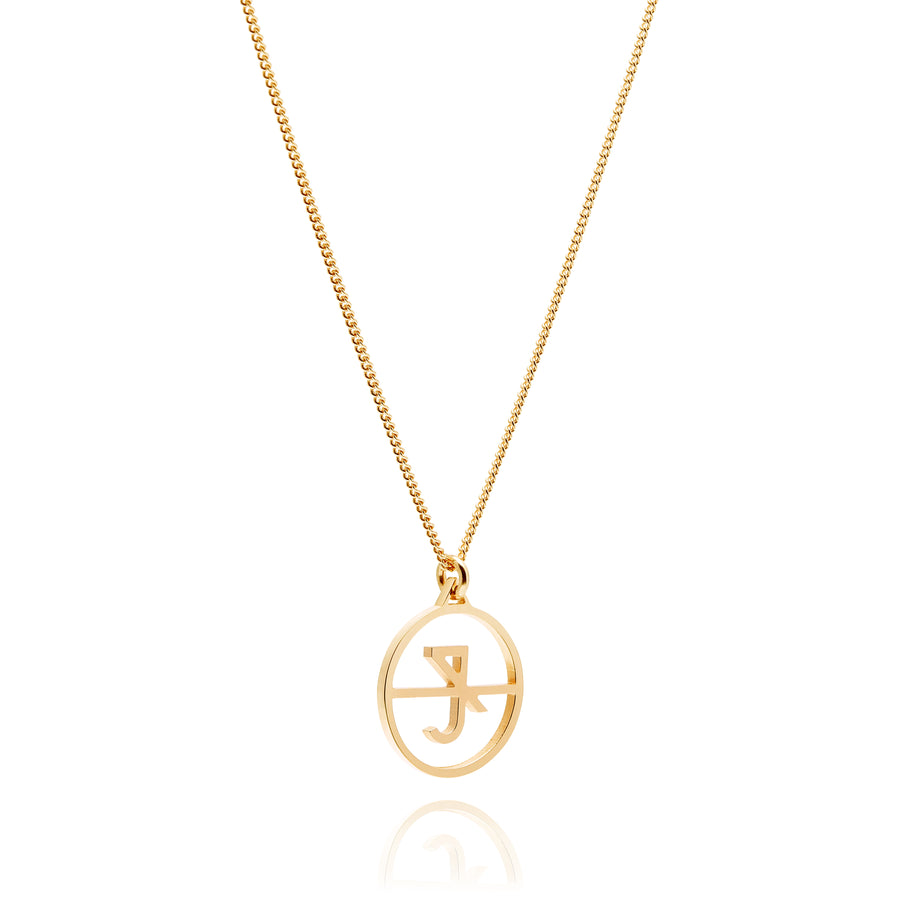 Shop Crux Mini Initial Necklace Yellow Gold
