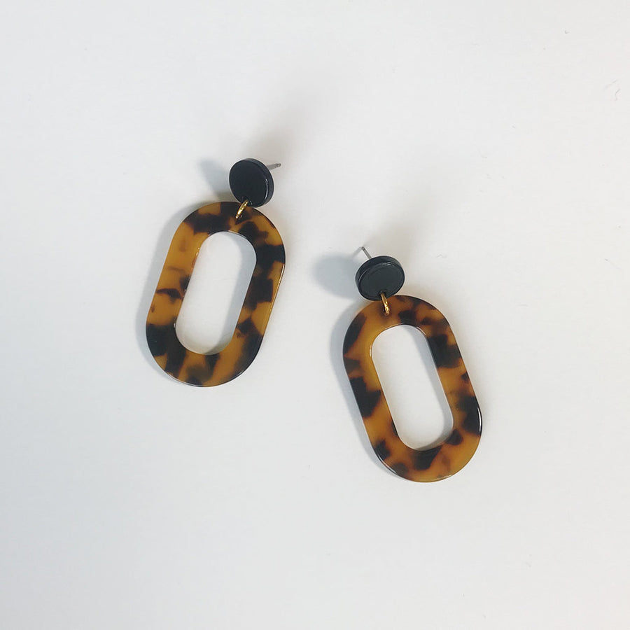 Weathered Penny Tortoiseshell Oval earrings