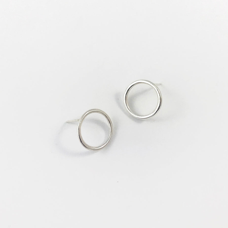 Silver Circle Earrings - Large