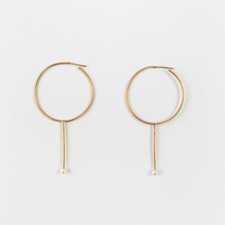 Shop Rebecca Gladstone Pearl Hoops Yellow Gold