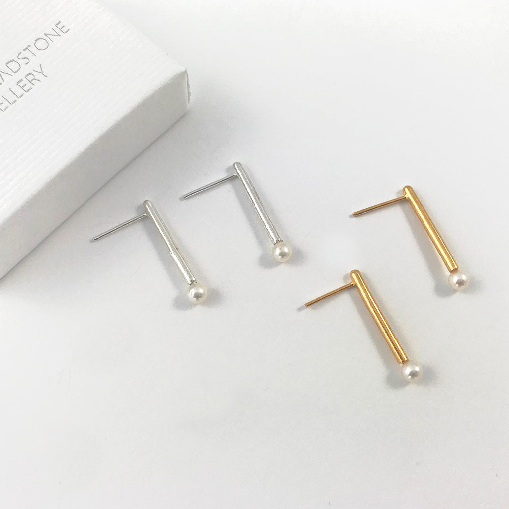 Shop Silver Pearl Bar Earrings