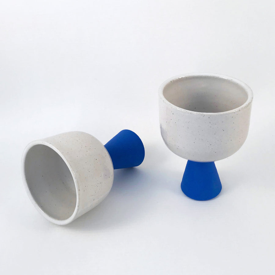 Ceramic Stem Wine Cups - Blue & White