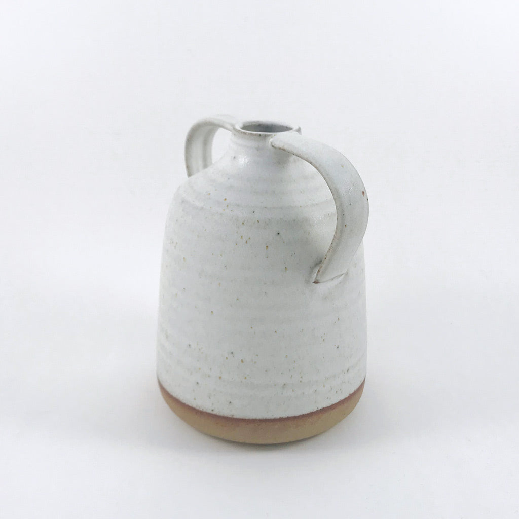 JG Pottery - Stub Vase with Handles - White
