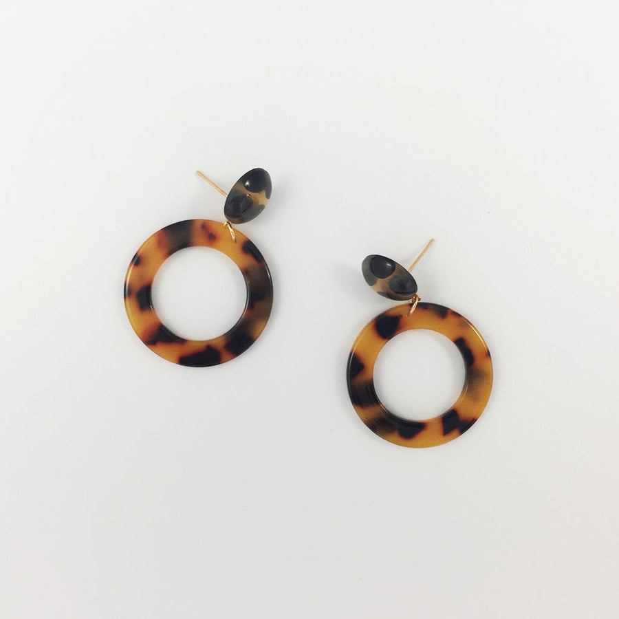 Shop Weathered Penny Tortoiseshell Circle Drop Earrings