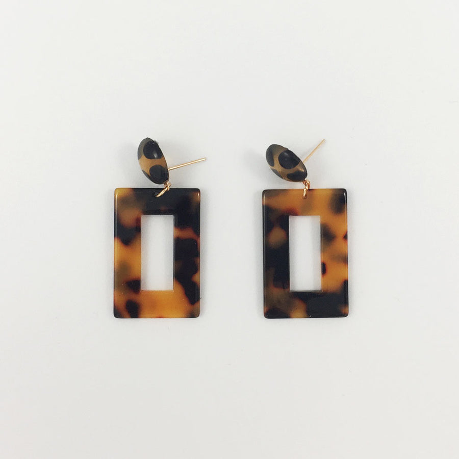 Shop weathered penny Tortoiseshell Rectangle Drop Earrings