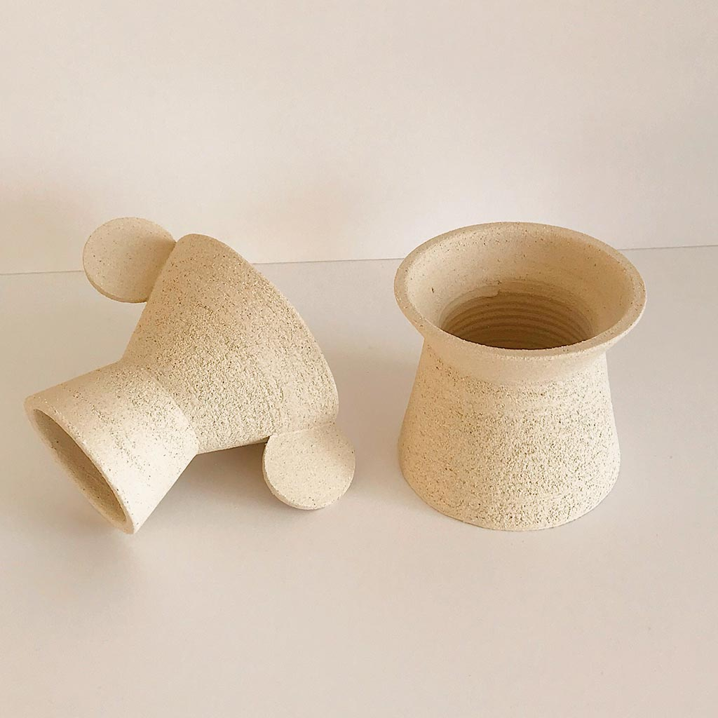 Mari Masot - Two Part Plant Pot - Small - Cream