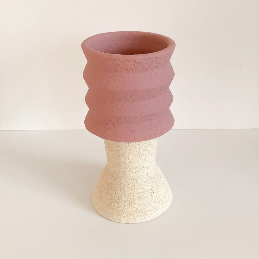 Mari Masot - Two Part Plant Pot - Small - Pink & Cream