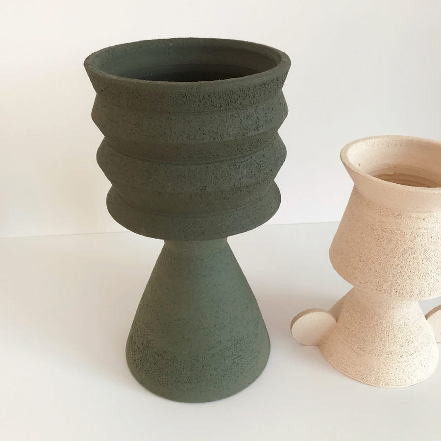 Mari Masot - Two Part Plant Pot - Large - Dark Green