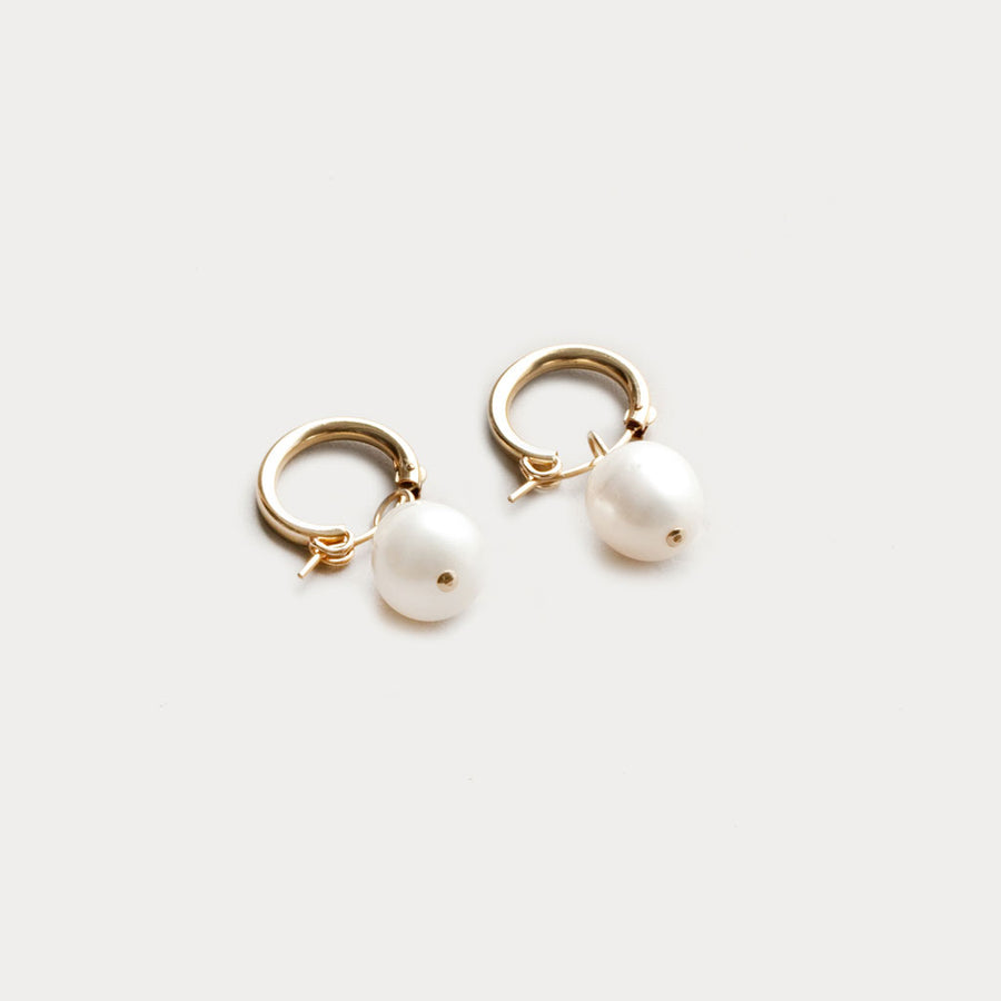 Wolf Circus -Pearl Hoops - Yellow Gold