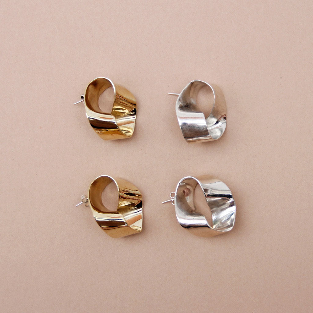 Roundabout Earrings In Silver & Brass- Shop Now