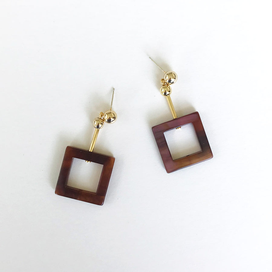 Project Bon - Chocolate Square Earrings
