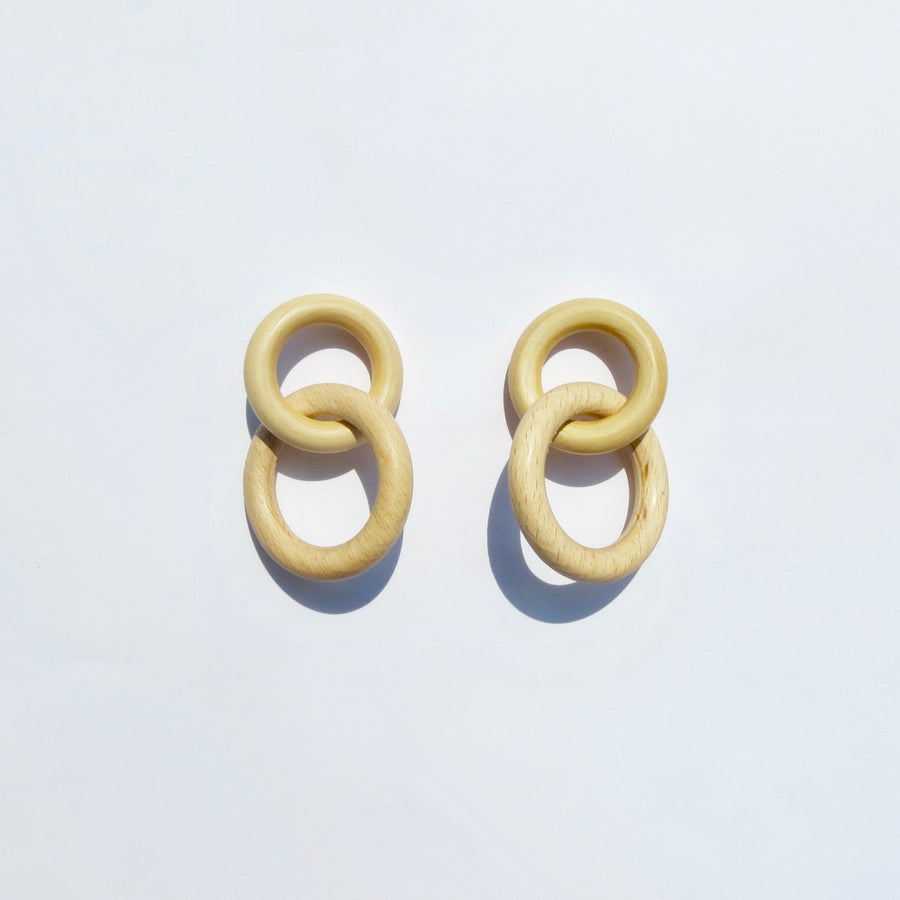 Saturn Earrings - Maple Wood