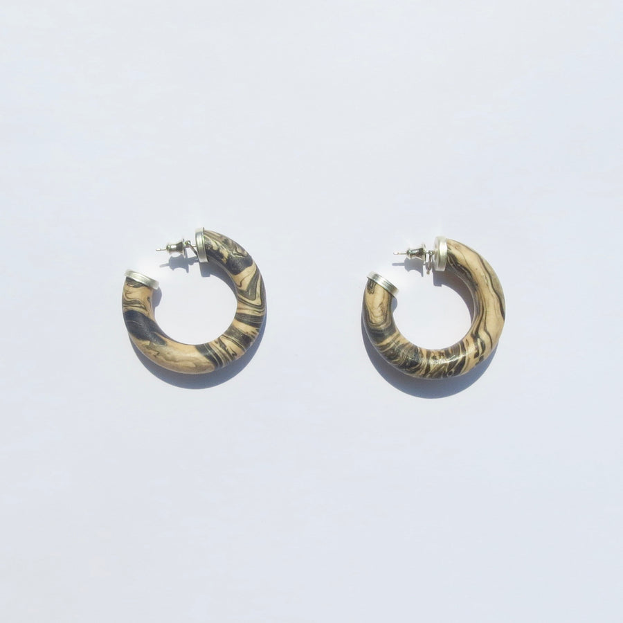 Amelia Earrings - Marble Maple Wood - Medium