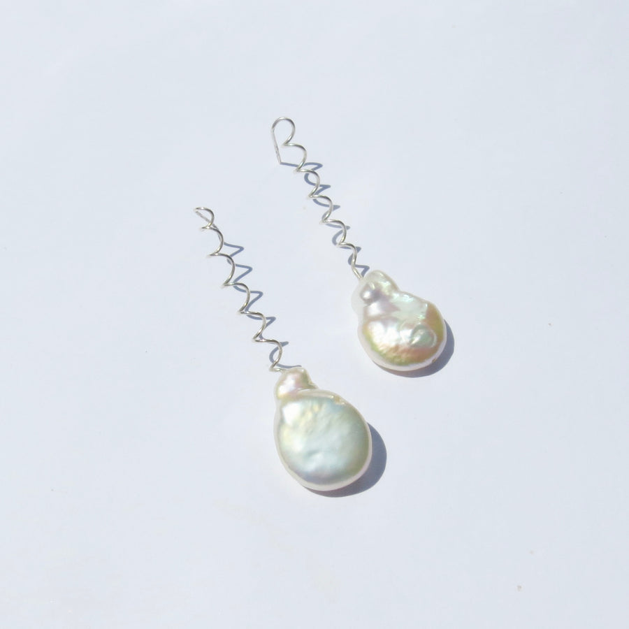 Venus I Silver & Pearl Earrings