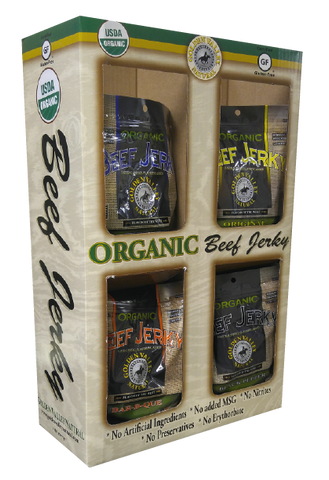 Case of Certified Organic Beef Jerky 3.0 oz - 4 Flavor Shipper
