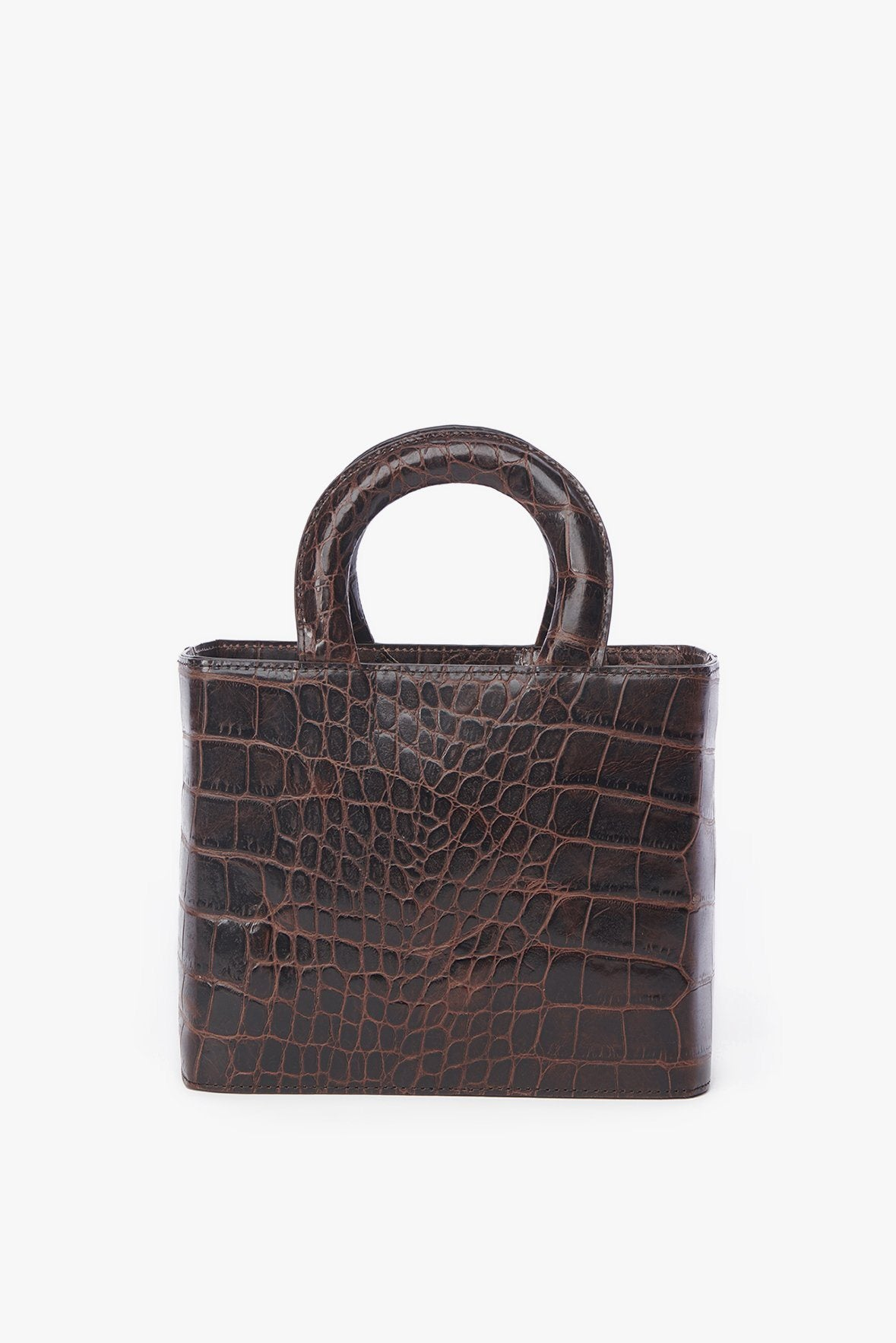 STAUD NIC BAG BROWN FAUX CROC
